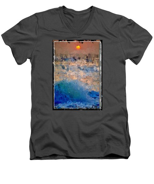 Sun Rays Abstract Men's V-Neck T-Shirt by Anthony Fishburne