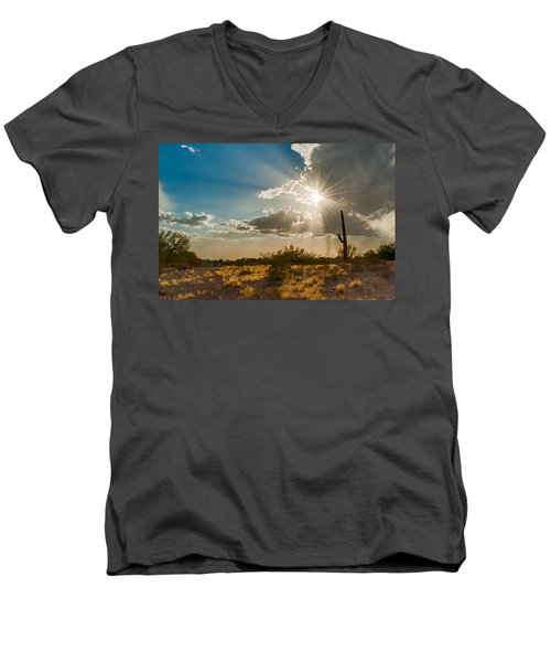Men's V-Neck T-Shirt featuring the photograph Sun Rays In Tucson by Dan McManus
