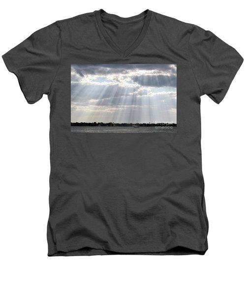 Sun Rays Over Lagoon Men's V-Neck T-Shirt
