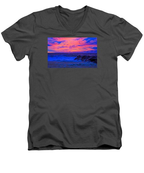 Sun Rays Painted Sky Men's V-Neck T-Shirt by Allan Levin