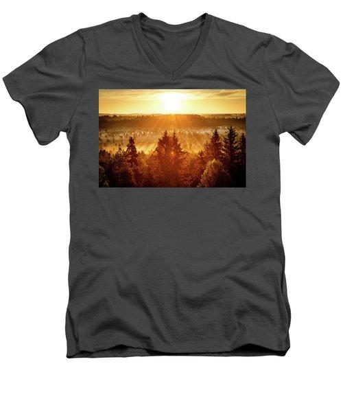 Sun Rising At Swamp Men's V-Neck T-Shirt by Teemu Tretjakov