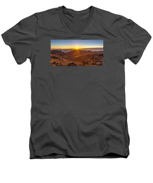 Sun Rising Mount Haleakala Men's V-Neck T-Shirt by Pierre Leclerc Photography