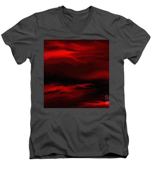 Men's V-Neck T-Shirt featuring the painting Sun Sets In Red by Rushan Ruzaick