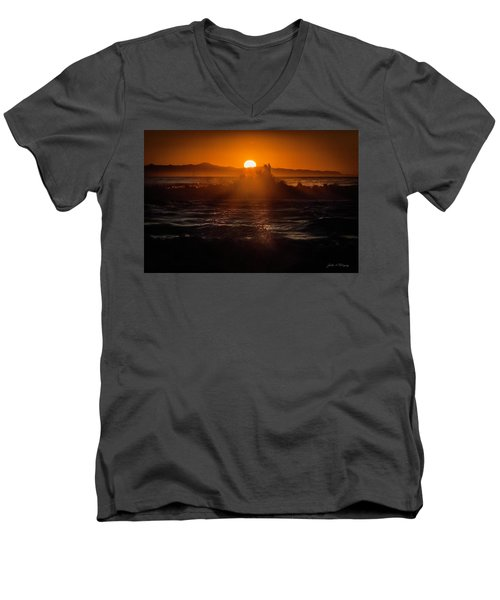 Men's V-Neck T-Shirt featuring the photograph Sun Setting Behind Santa Cruz Island by John A Rodriguez