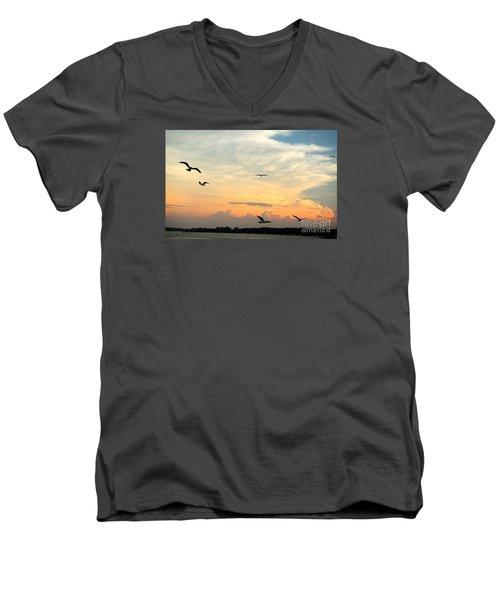 Sun Setting Over The Lake   Men's V-Neck T-Shirt by Yumi Johnson