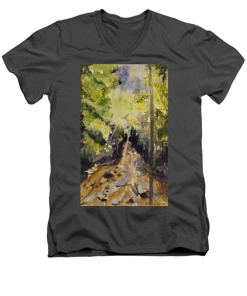 Men's V-Neck T-Shirt featuring the painting Sun Shines Through by Geeta Biswas