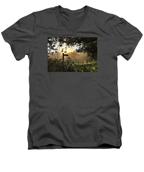 Men's V-Neck T-Shirt featuring the photograph Sun Sign by RKAB Works