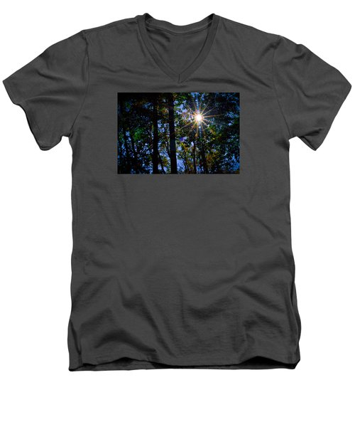 Men's V-Neck T-Shirt featuring the photograph Sun Star by Carlee Ojeda