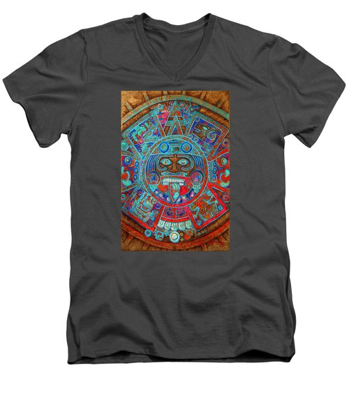 Sun Stone Men's V-Neck T-Shirt by J- J- Espinoza