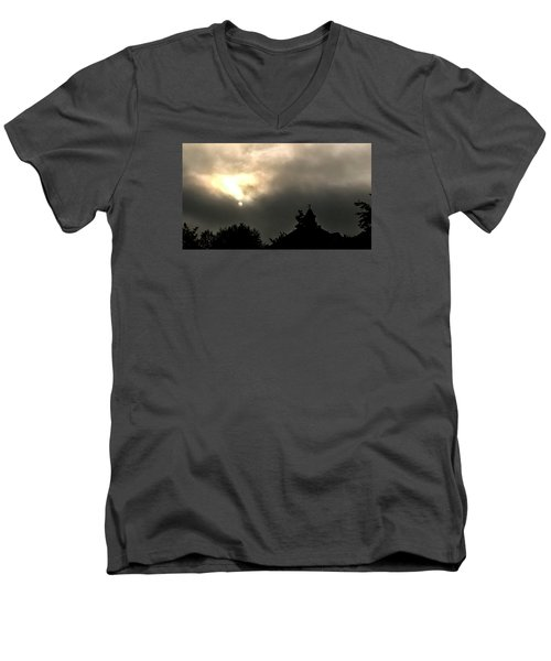 Men's V-Neck T-Shirt featuring the photograph Sun Through Fog by Carlee Ojeda