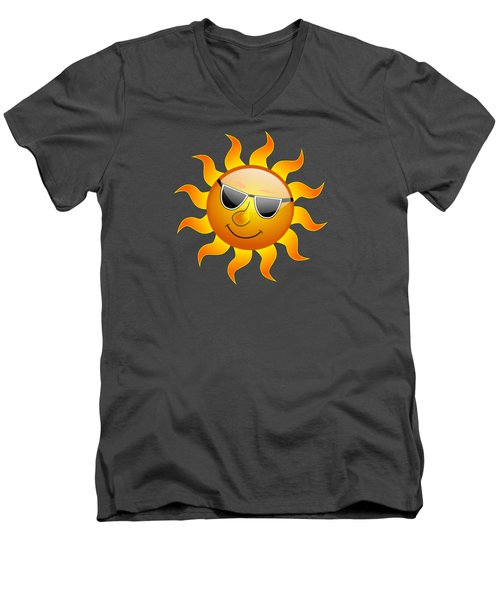 Men's V-Neck T-Shirt featuring the digital art Sun With Sunglasses by Movie Poster Prints
