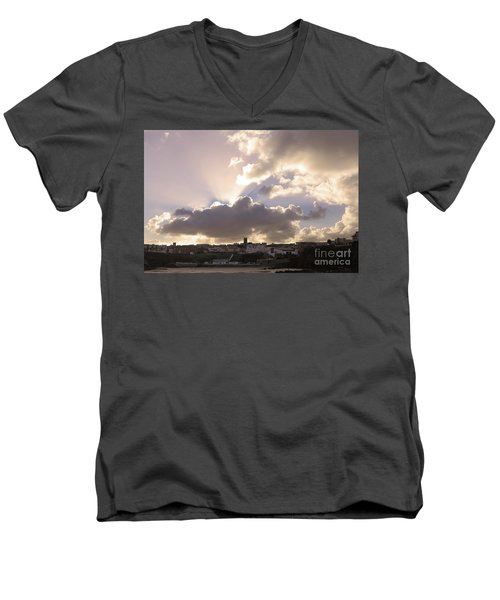 Men's V-Neck T-Shirt featuring the photograph Sunbeams Over Church In Color by Nicholas Burningham