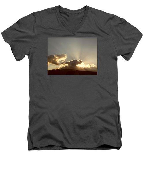Men's V-Neck T-Shirt featuring the photograph Trumpeting Triumphantly Sunrise by Deborah Moen