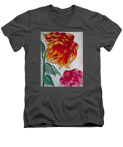Sunburst And Peppermint Men's V-Neck T-Shirt by Megan Walsh