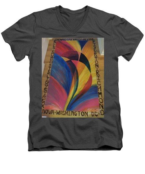 Sunburst Floorcloth Men's V-Neck T-Shirt by Judith Espinoza