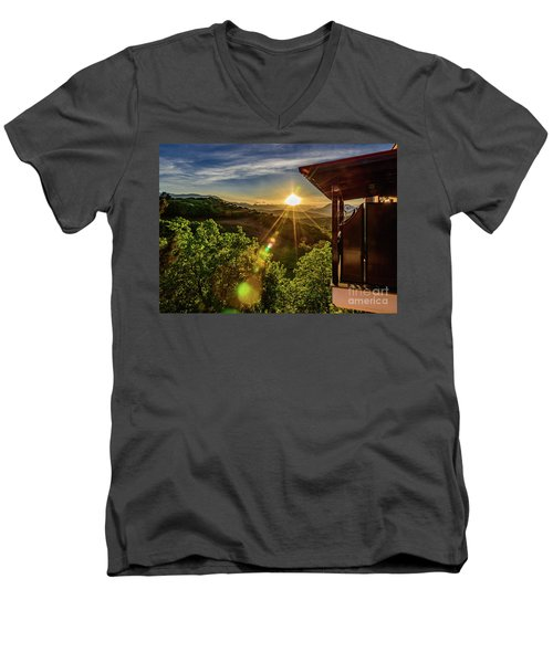 Sunburst View From Dellas Boutique Hotel Near Meteora In Kastraki, Kalambaka, Greece Men's V-Neck T-Shirt