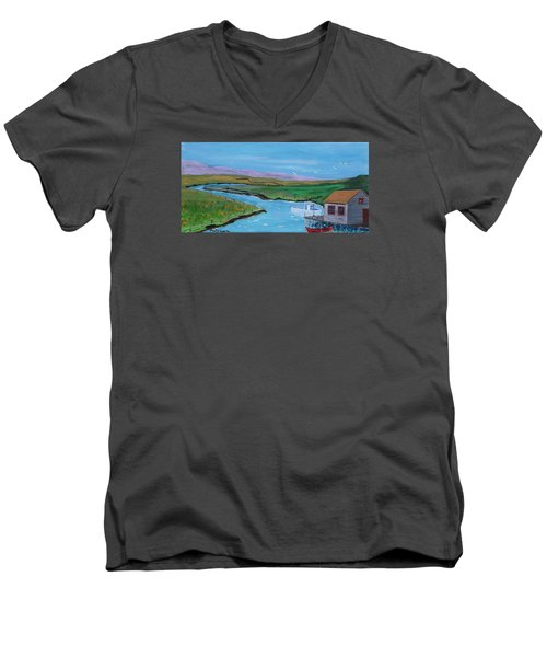 Sunday Afternoon On The California Delta Men's V-Neck T-Shirt by Mike Caitham