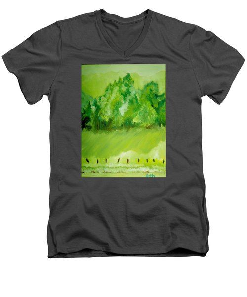 Men's V-Neck T-Shirt featuring the painting Sunday At Two Thirty by Seth Weaver