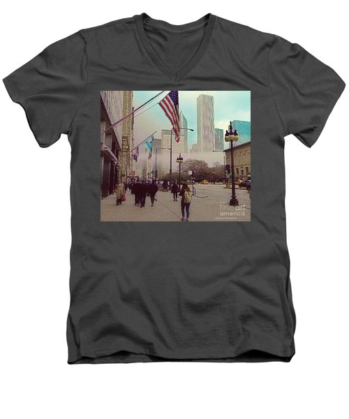 Men's V-Neck T-Shirt featuring the photograph Sunday In The City by Kathie Chicoine