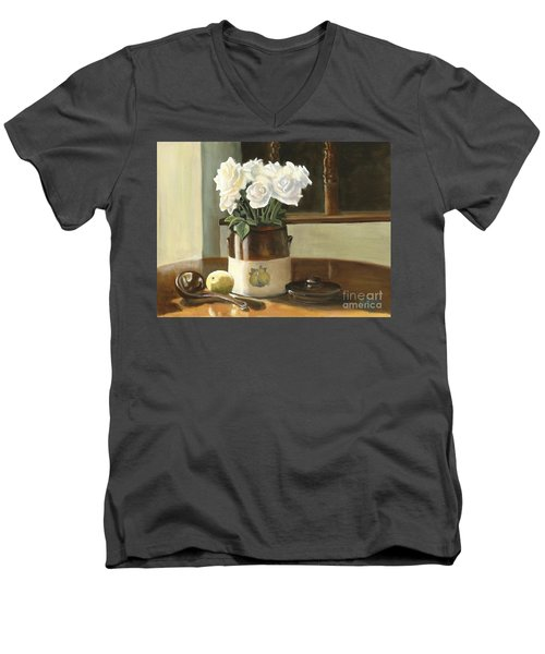 Sunday Morning And Roses - Study Men's V-Neck T-Shirt by Marlene Book