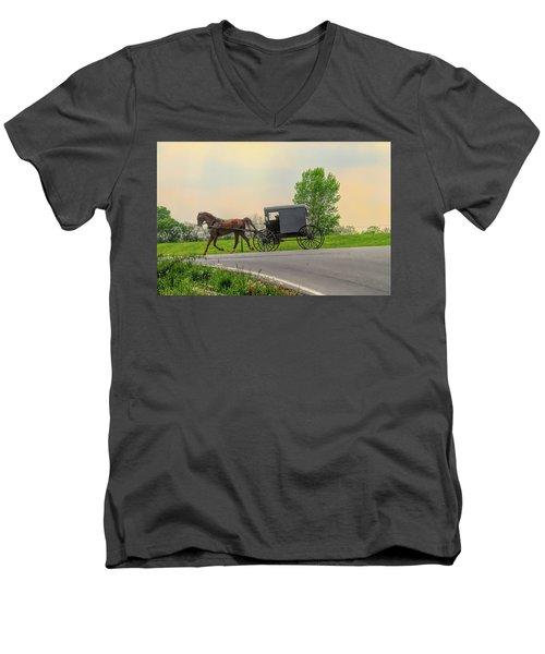 Sunday Ride At Sunset On Ronks Road Men's V-Neck T-Shirt