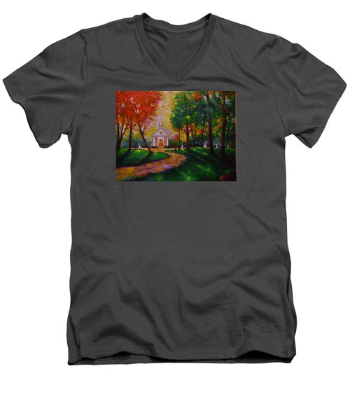 Men's V-Neck T-Shirt featuring the painting Sunday School by Emery Franklin