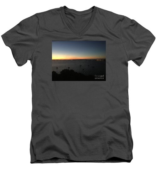 Sunday Sunrise, October 4, 2015, Casco Bay, Portland, Maine Men's V-Neck T-Shirt by Patricia E Sundik