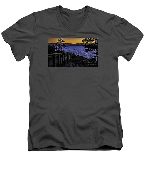 Men's V-Neck T-Shirt featuring the photograph Sundown At Sand Harbor by Nancy Marie Ricketts