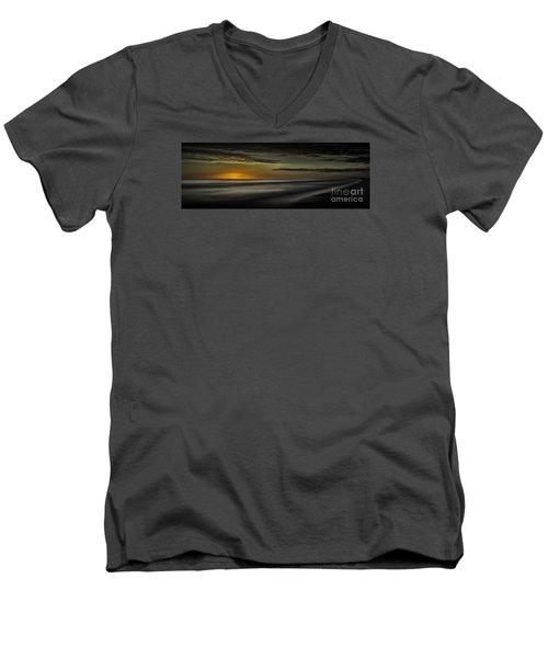Sundown At Santa Rosa Beach Men's V-Neck T-Shirt by Walt Foegelle
