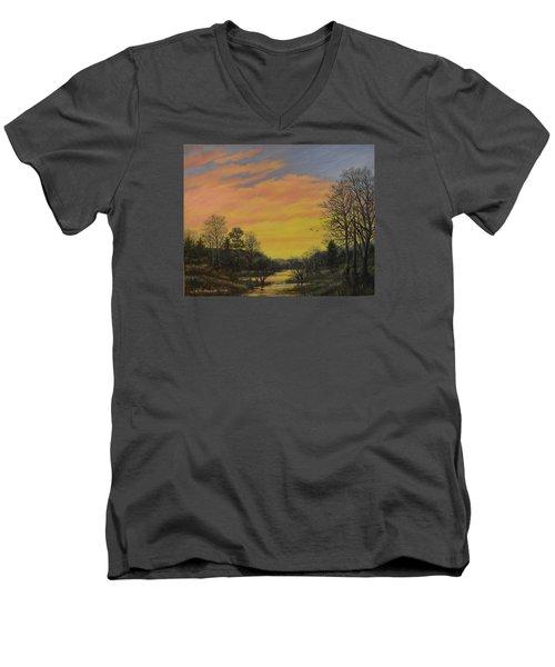 Sundown Glow Men's V-Neck T-Shirt by Kathleen McDermott