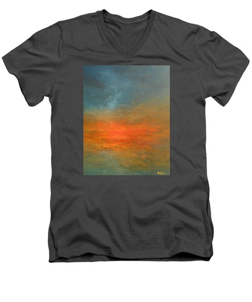 Men's V-Neck T-Shirt featuring the painting Sundown by Jane See