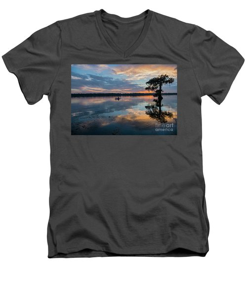Men's V-Neck T-Shirt featuring the photograph Sundown Kayaking At Lake Martin Louisiana by Bonnie Barry
