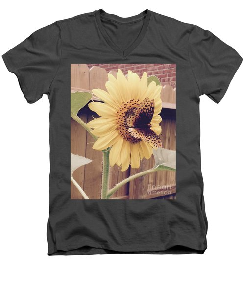 Sunflower And Butterfly Men's V-Neck T-Shirt