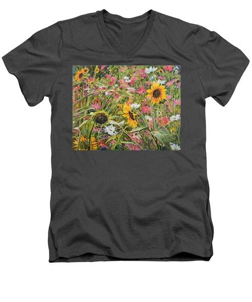 Sunflower And Cosmos Men's V-Neck T-Shirt by Steve Spencer