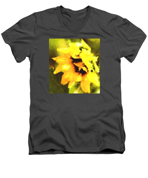 Sunflower Men's V-Neck T-Shirt by Cathy Donohoue
