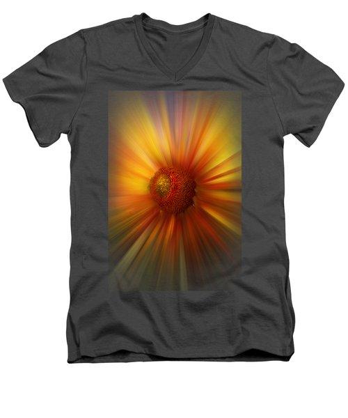 Sunflower Dawn Zoom Men's V-Neck T-Shirt by Debra and Dave Vanderlaan