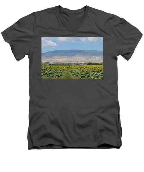 Sunflower Farming Splendor In Delta Co Men's V-Neck T-Shirt