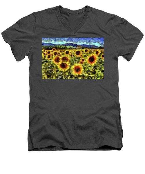 Sunflower Field Van Gogh Men's V-Neck T-Shirt