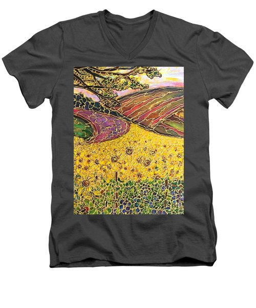 Men's V-Neck T-Shirt featuring the painting Sunflower Fields by Rae Chichilnitsky