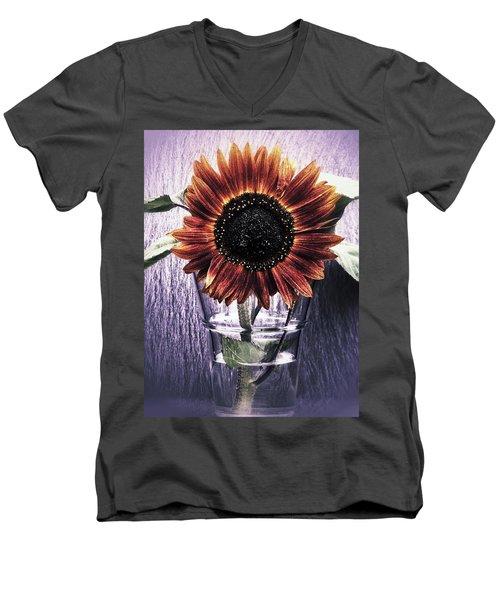 Sunflower In A Cup Men's V-Neck T-Shirt by Karen Stahlros