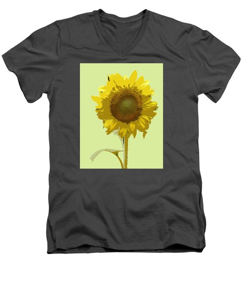 Men's V-Neck T-Shirt featuring the digital art Sunflower by Karen Nicholson