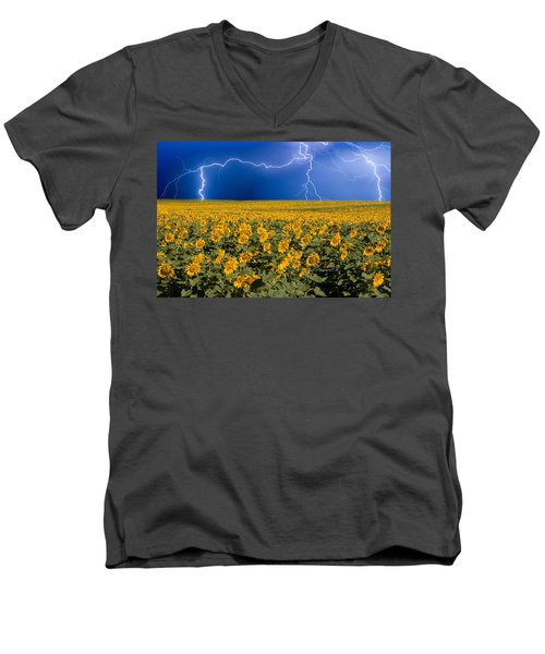 Men's V-Neck T-Shirt featuring the photograph Sunflower Lightning Field  by James BO  Insogna