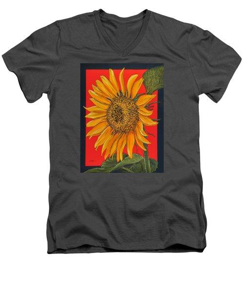 Da153 Sunflower On Red By Daniel Adams Men's V-Neck T-Shirt