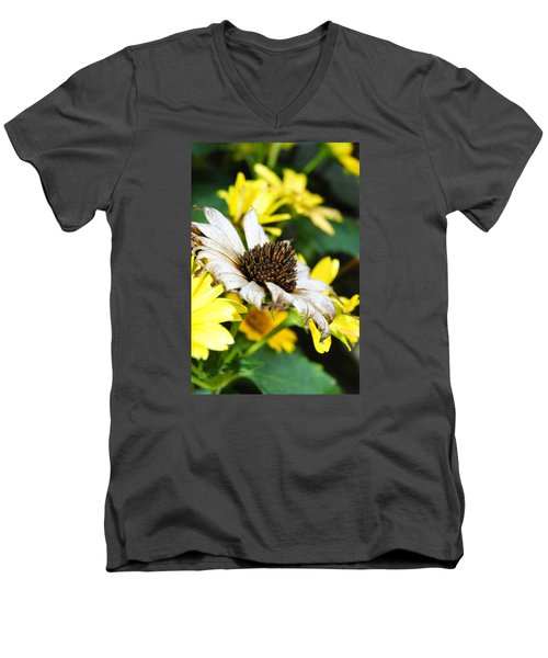 Men's V-Neck T-Shirt featuring the photograph Sunflower Promise by Margie Avellino