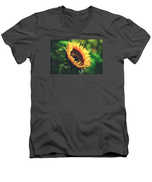Men's V-Neck T-Shirt featuring the painting Sunflower by Rose-Maries Pictures