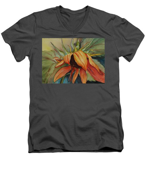 Men's V-Neck T-Shirt featuring the painting Sunflower by Ruth Kamenev