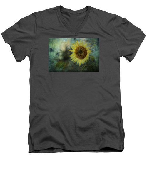 Sunflower Sea Men's V-Neck T-Shirt by Belinda Greb