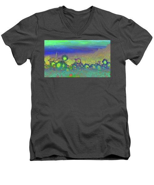 Men's V-Neck T-Shirt featuring the photograph Sunflower Serenade by Mike Breau