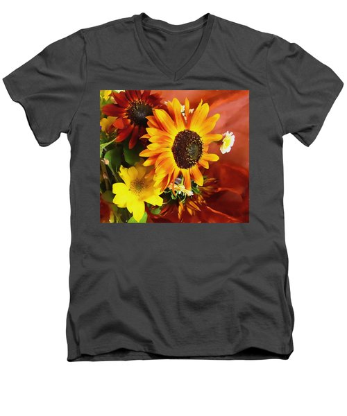 Men's V-Neck T-Shirt featuring the photograph Sunflower Strong by Kathy Bassett