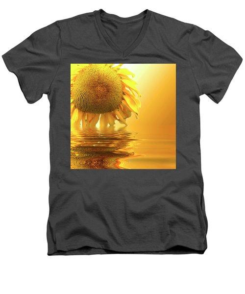 Sunflower Sunset Men's V-Neck T-Shirt by David French